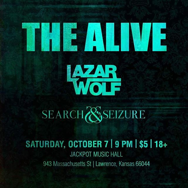 Come get your rock n roll on this Saturday night at @jackpotmusichall with @searchandseizure , @lazarwolfkc and The Alive! #lawrenceks #rock #music #kc