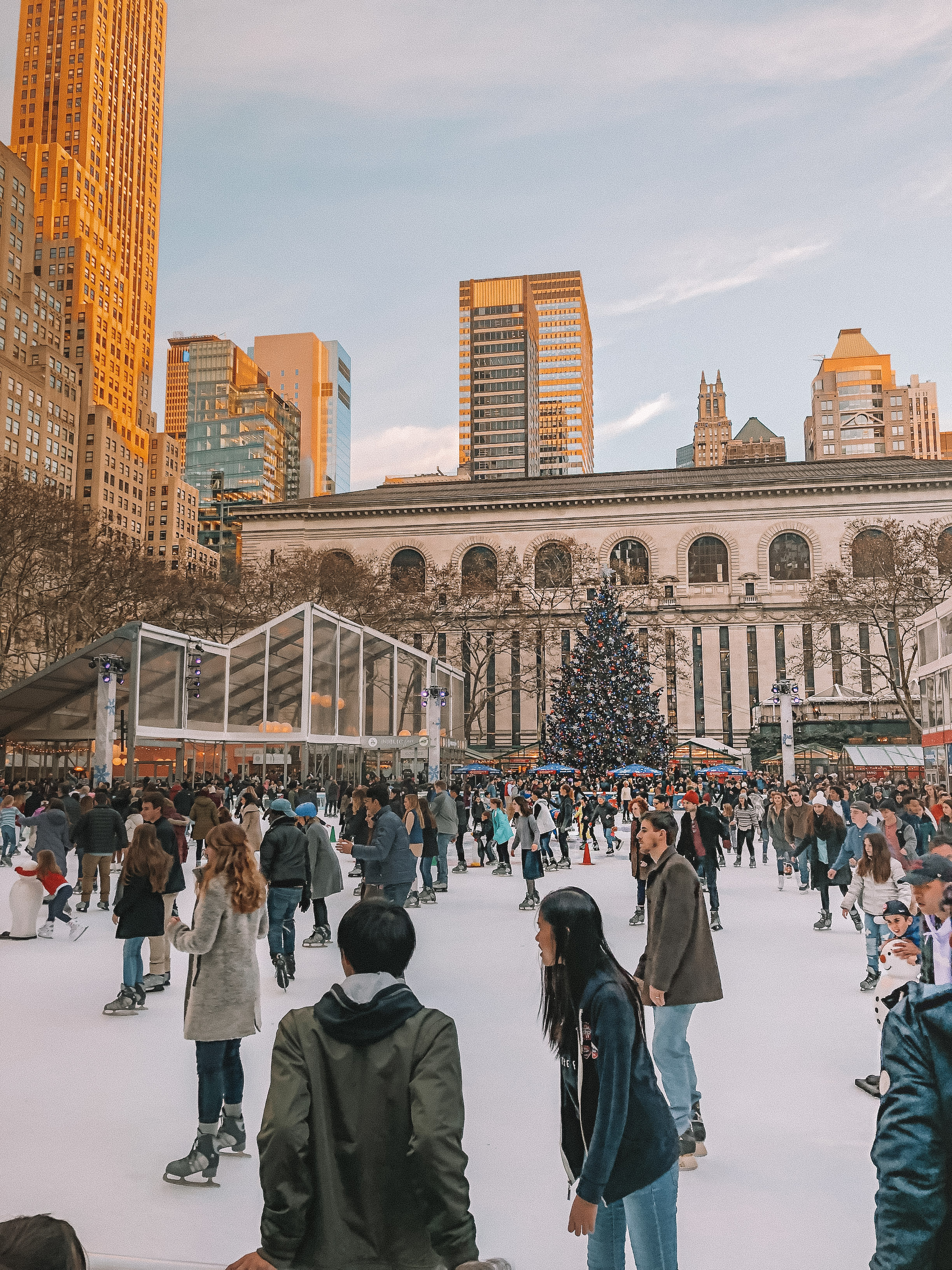 Ice skating rink in Bryant Park