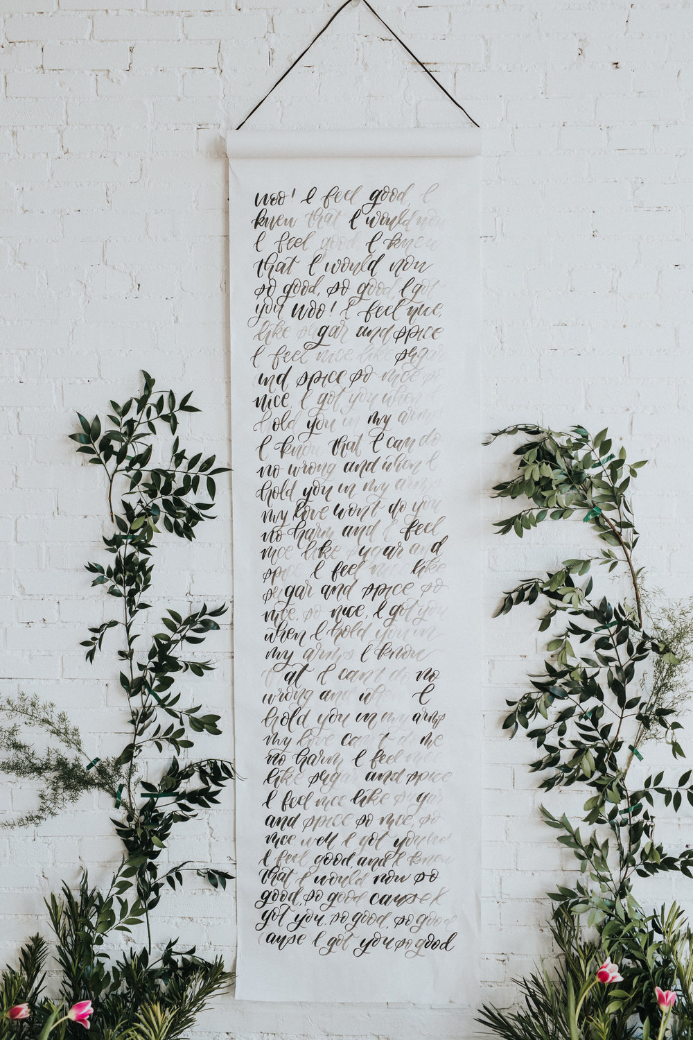 Calligraphy scroll - Hand lettered calligraphy scroll with beautiful greenery for a gorgeous loft wedding.