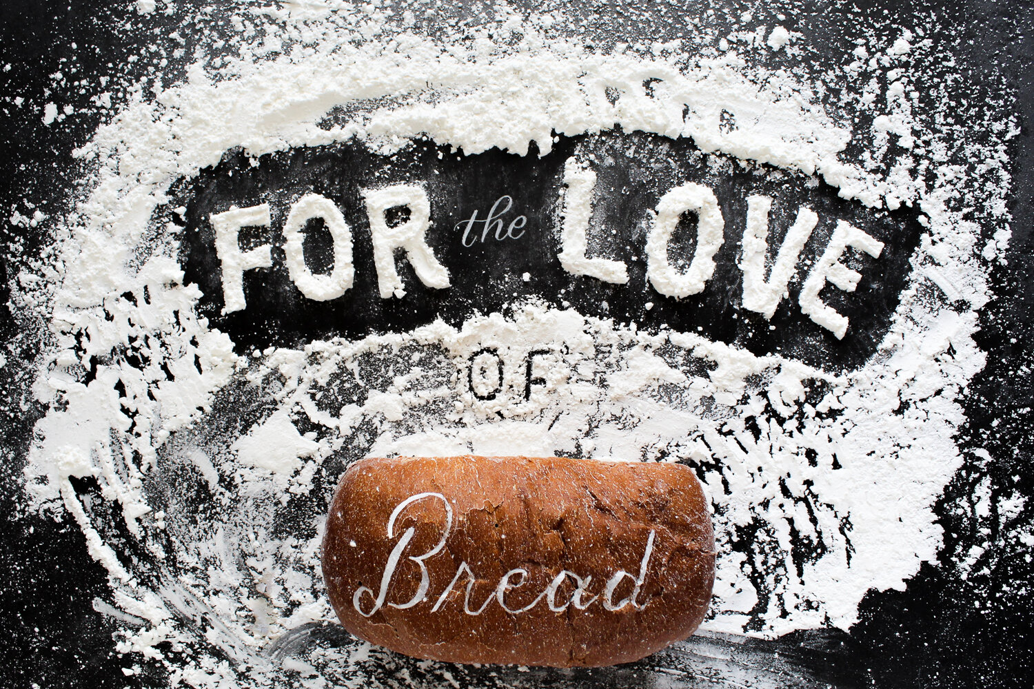 food typography - Lettering created with flour and bread.
