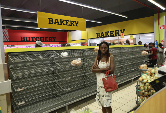 A typical visit to a grocery store in Zimbabwe in early 2019. Bread is limited to two loaves per customer, and is often hard to find at all.