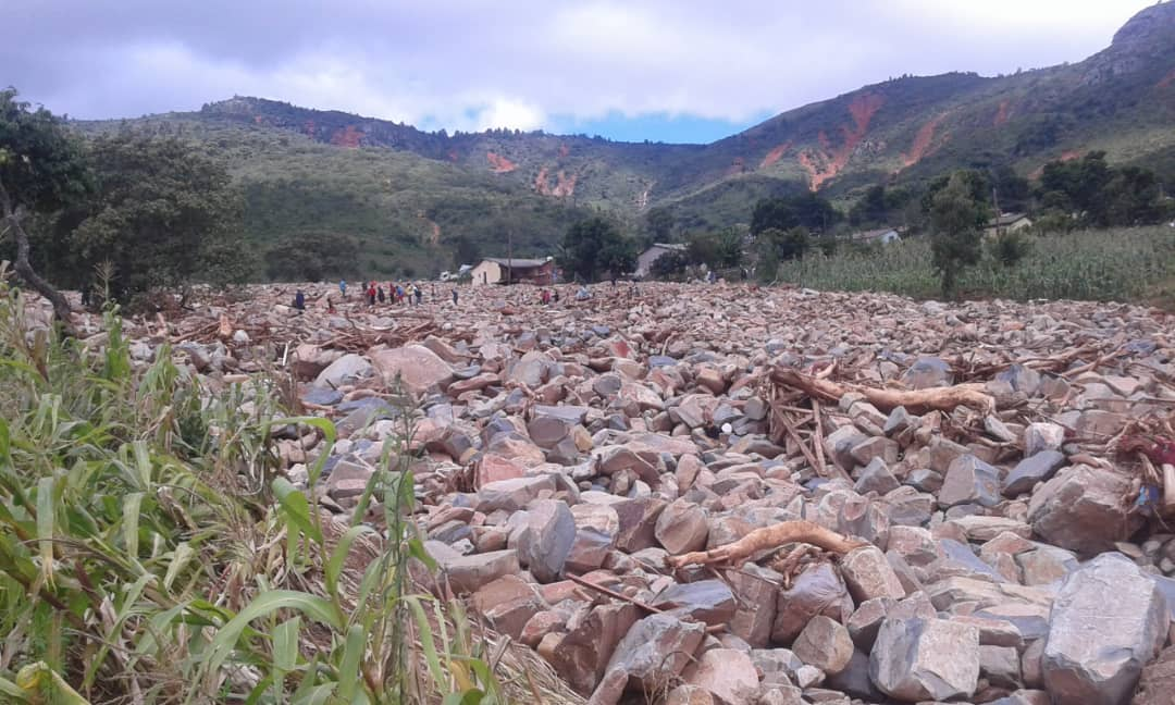 Crops were destroyed by water, mud and rocks.