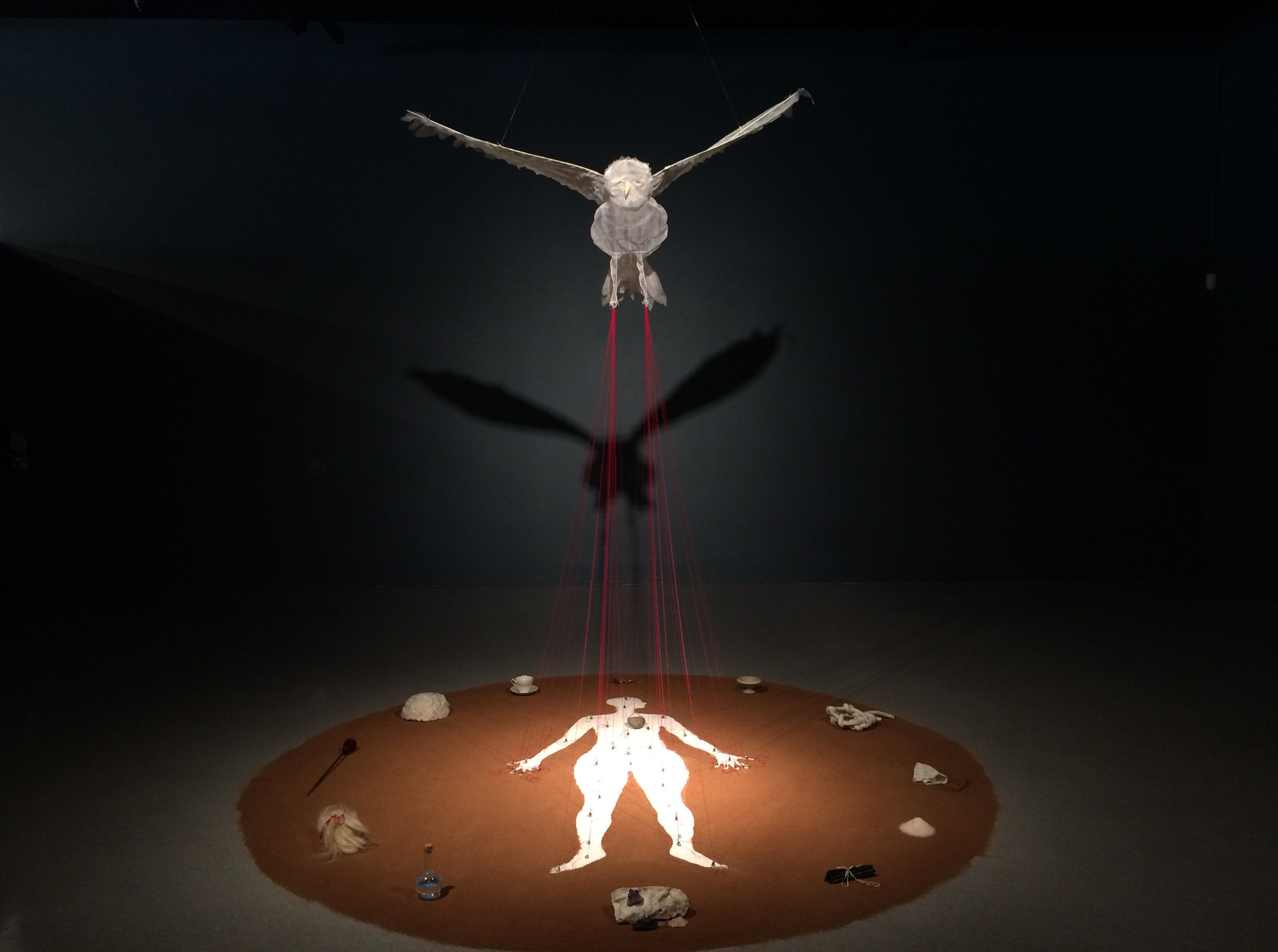 "Feathers and Weights, Soil, marble powder, silk organza, cotton floss, lead weights, various objects, 108""x108""x120"", 2016"