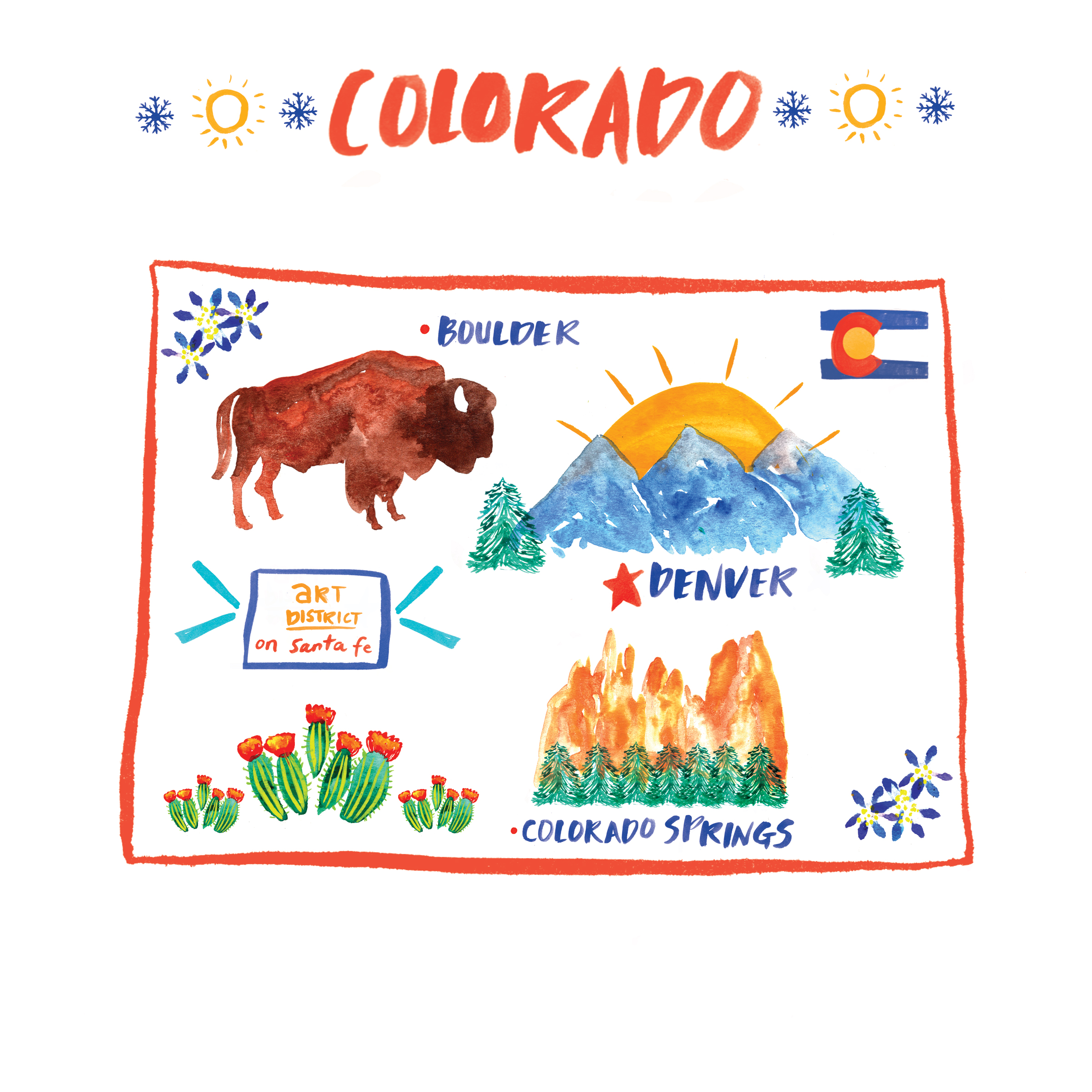 COLORADO - I had been wanting to go to Colorado for a while and when I finally did I saw why people love it so much. 🏔 I spent sometime in Denver where air is super crisp and the downtown art scene is filled with awesomeness. (The art district on Santa Fe) I got to check out the magnificent Garden of the Gods in Colorado Springs and drove out to Boulder to shop, see the beautiful university campus and eat and drink yummy local food and beer. Can't wait to see you again CO!PLACES: DENVER, BOULDER, COLORADO SPRINGS