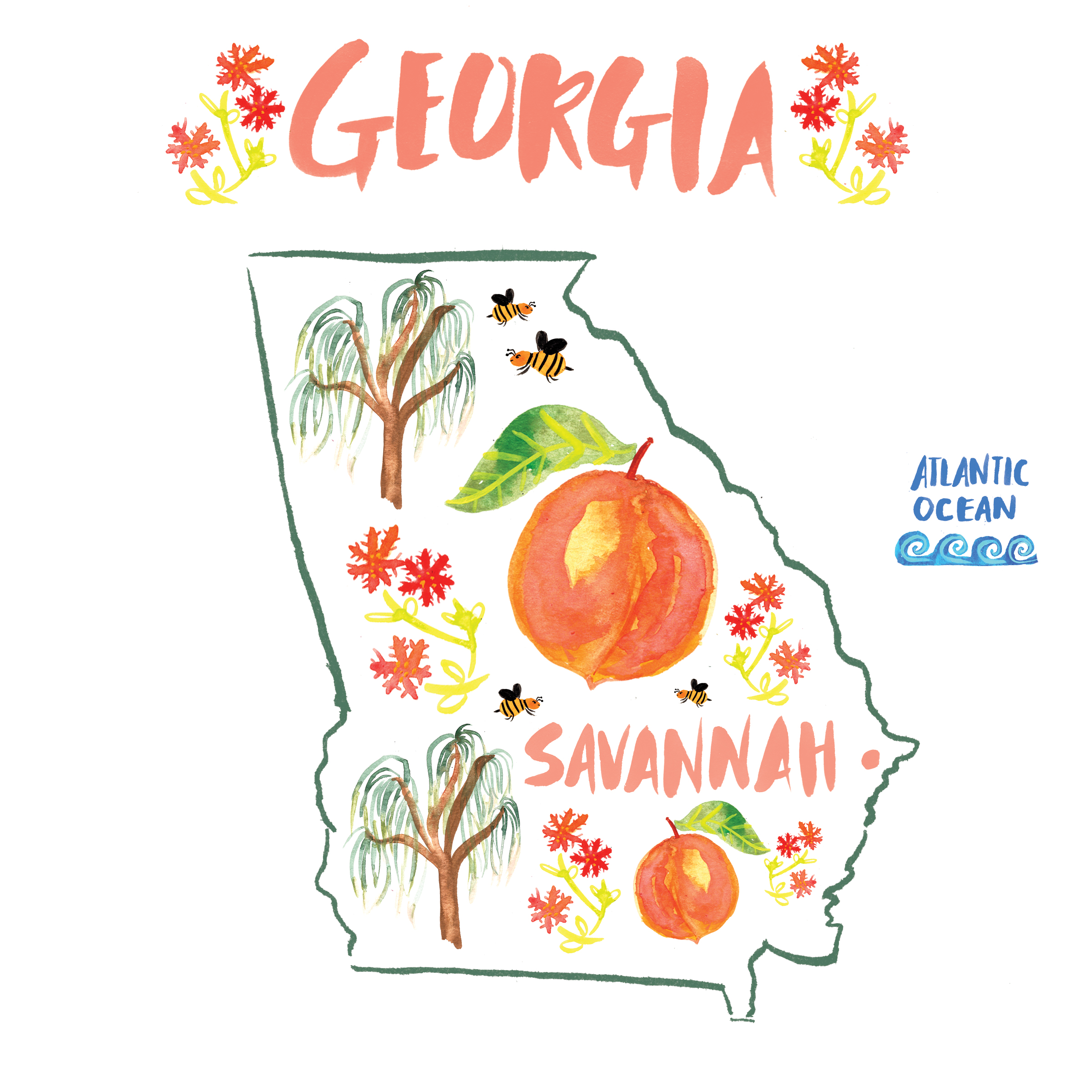 GEORGIA - Sweet Savannah! 🍑 I knew I was going to love your southern charm and I knew I was going to be captivated by your lovely Spanish moss trees! 😍 I stayed in a bed and breakfast right by the river and in great proximity to everything I wanted to see. I walked around with Stella (very dog friendly!) and got to see the campus of SCAD. I was thrilled to see a variety of works by artists thriving in their crafts. Next stop for me in Georgia will be ATL!PLACES: SAVANNAH