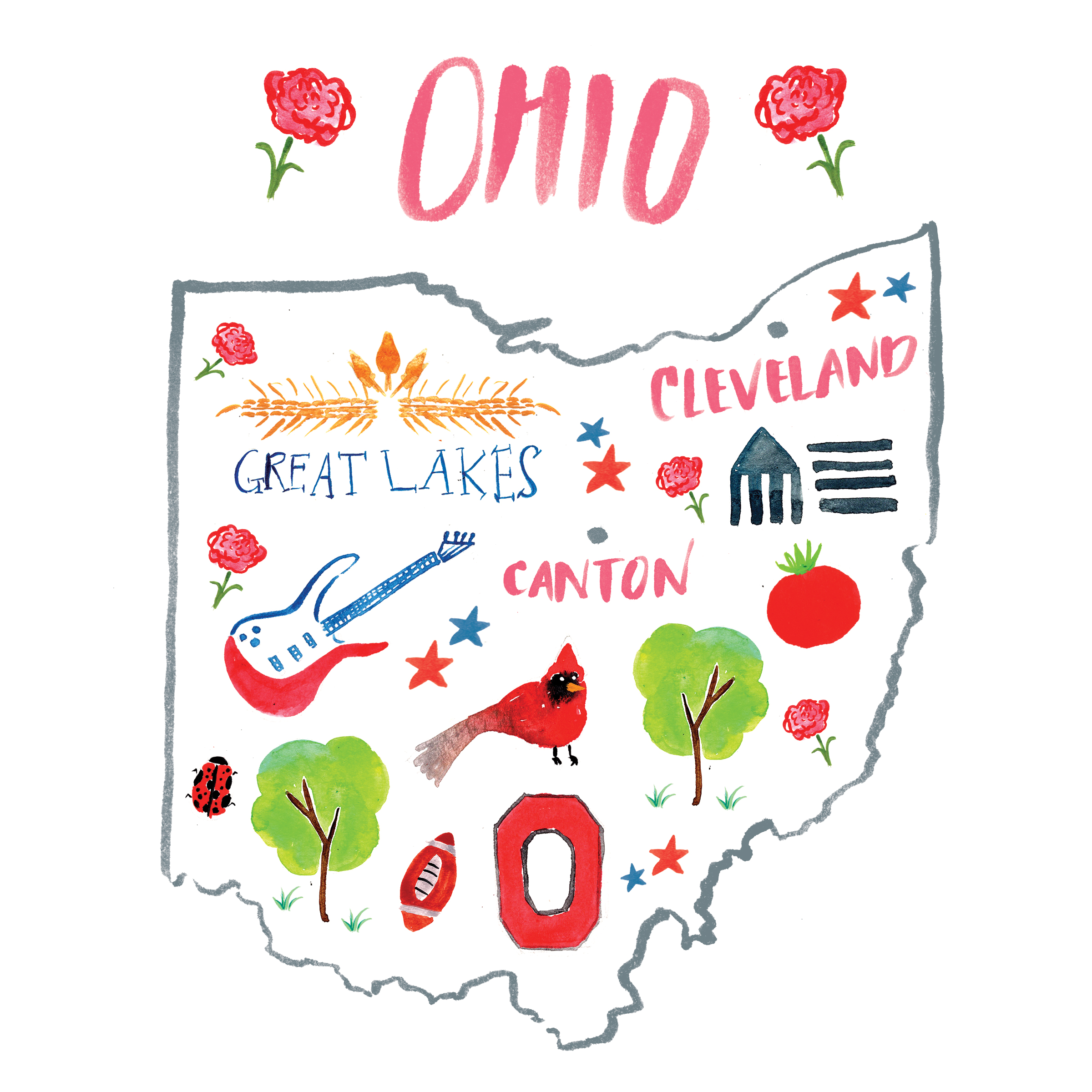 OHIO - Finishing out this week with a couple more maps! ✈️✌🏼️😁 When I visited Ohio it was a fun time with friends and family! Lots of laughs and lots of good food. I digged Cleveland's downtown area and especially loved Great Lakes brews. The highlight of my time there had to be the Cleveland Art Museum. The architecture and amazing exhibit had me refreshed and inspired.