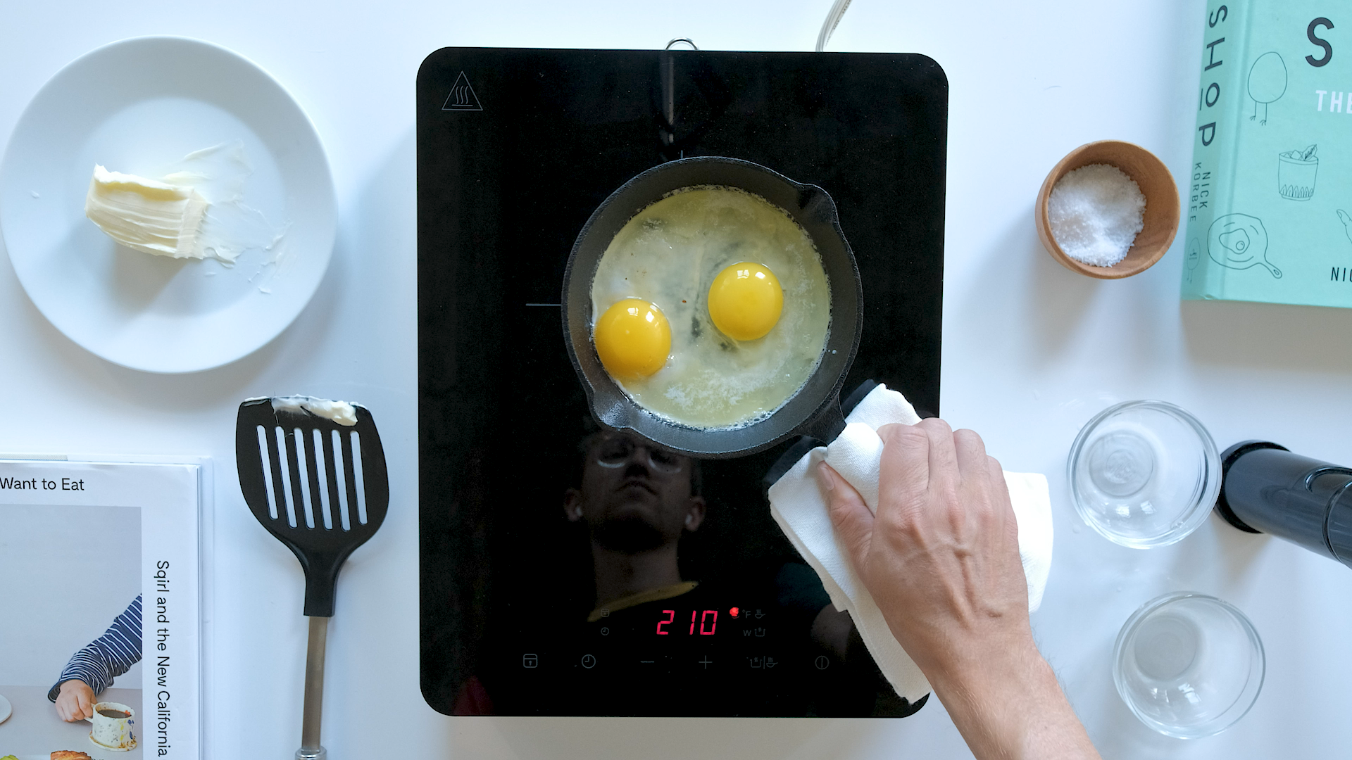 Sunny side up eggs, take them to the oven.