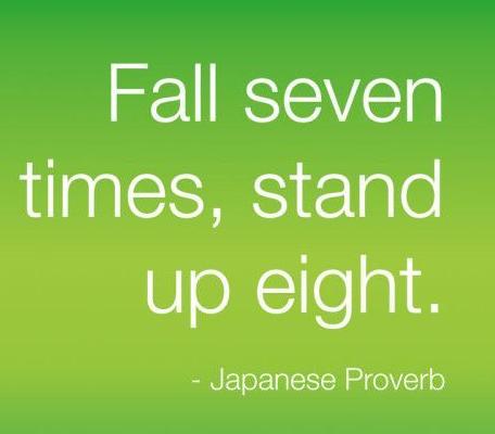 七転び八起き - Japanese Proverb the essentially puts the focus on  getting back up rather than worry about falling again