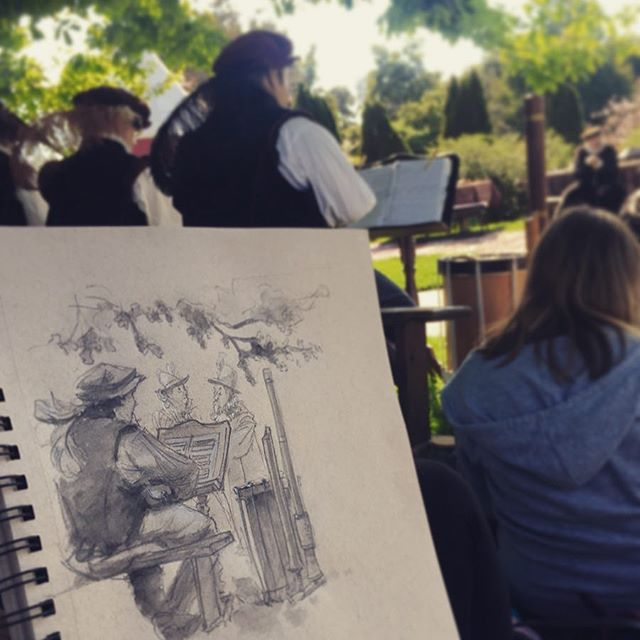 Drawing from the Huntington Library's Shakespeare Festival this weekend! Gorgeous gorgeous day. 🌺  #illustration #shakespeare #lifedrawing #dailydrawing #dailyart #watercolor #blackwing #tonedpaper #huntingtonlibrary @thehuntingtonlibrary #draw #drawing