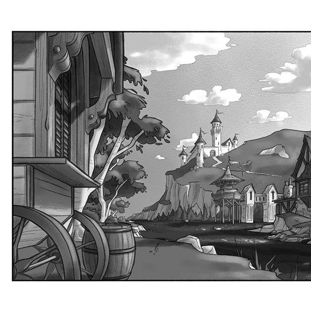 Environment design for a river village! The full render, line art and tonal studies. #environmentdesign #illustration #digitalart #backgrounddesign #medieval #castle #medievalvillage #dailyart #dailydrawing #conceptart #lineart #tonestudy #sunset #atmosphere #art