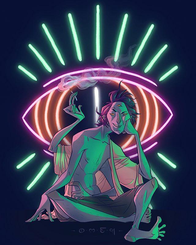 Neon psychics and demi demons... some fun art for a noir story idea of mine. Character named Omen, your friendly neighborhood stoner & oracle. #omen #neon #illustration #characterdesign #originalcharacterart #psychic #thirdeye #monster #demon #demons #deviltown #noir #sketchbook #digitalart #dailydrawing #dailyart #draw