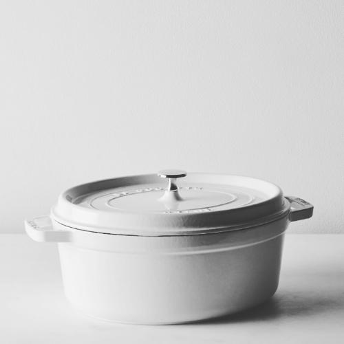 Staub Cast Iron Dutch Oven Cocette in White