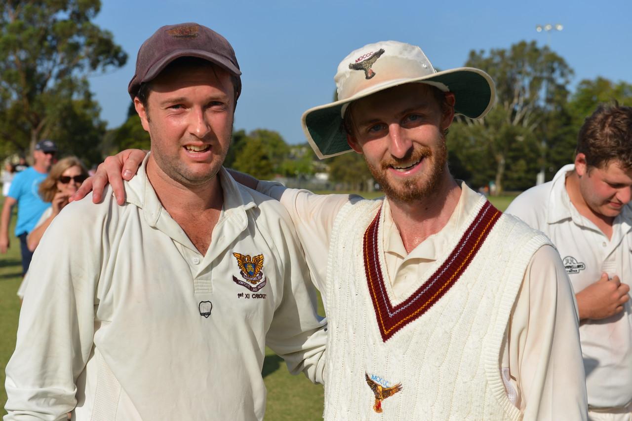 Julian Black and Joel Donnellan after each taking 5 wickets each in the Grand Final
