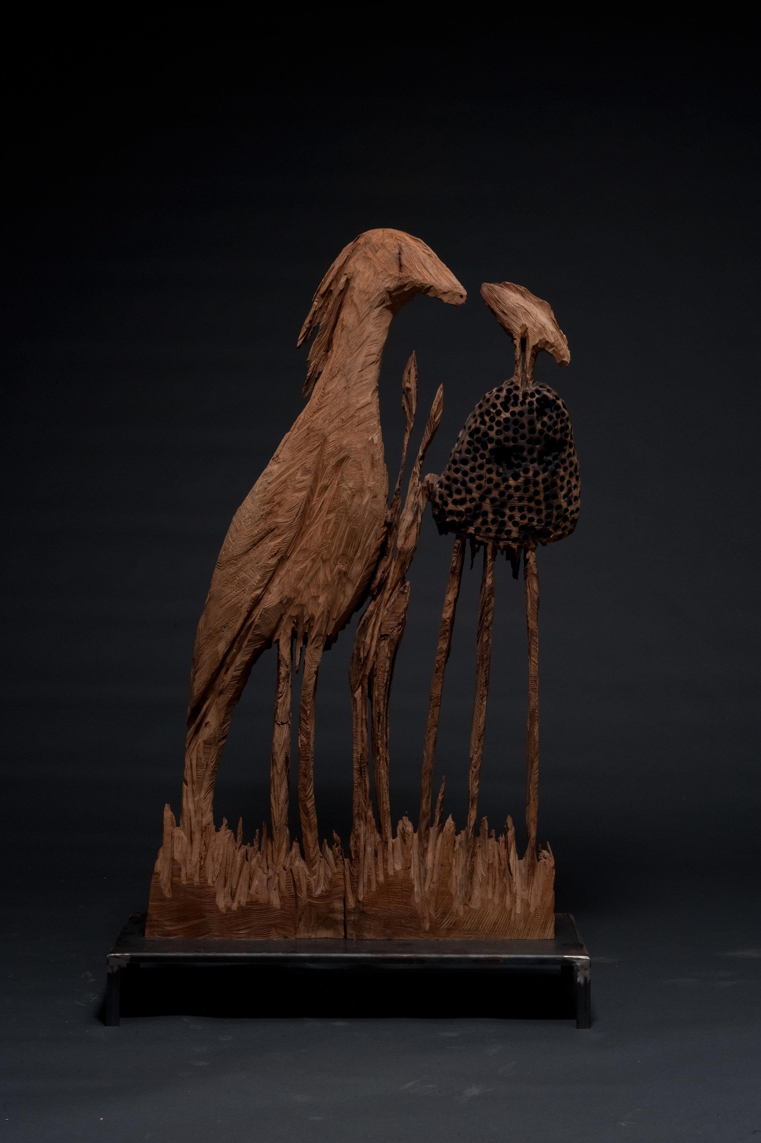 Vogel mit Morchel, 150x20x80 cm, 2007