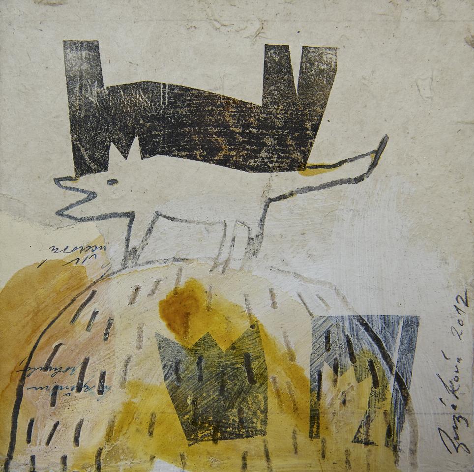 Aufeinander, Mischtechnik auf Papier, 30x30 cm, 2012