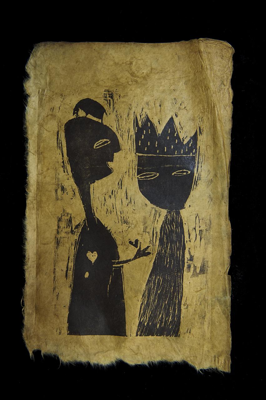 Verschenktes Herz, Linoldruck auf Papier, 20x34 cm, 2013