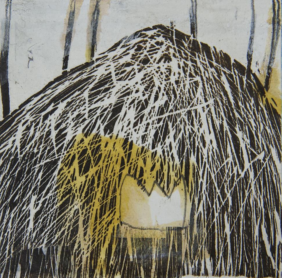 Krone im Berg, Holzdruck auf Papier, 20x20 cm, 2015