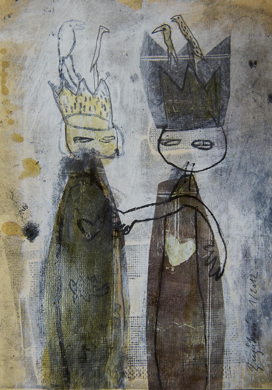 Könige, Mischtechnik auf Holz, 30x45 cm, 2016