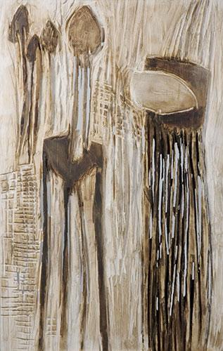 Morcheln, Mischtechnik auf Holz, 70x120 cm, 2005