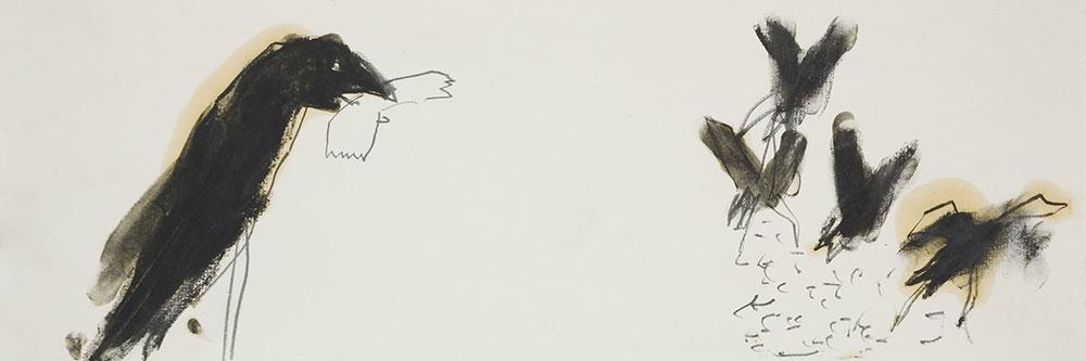 Crows of Bangalore, Graphit und Leinöl auf Papier, 50x18 cm, 2005