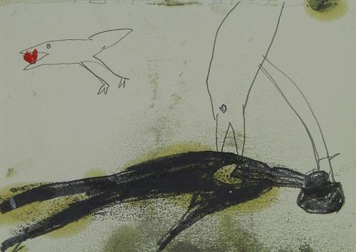 Abschied, Graphit und Leinöl auf Papier, 35x27cm, 2002