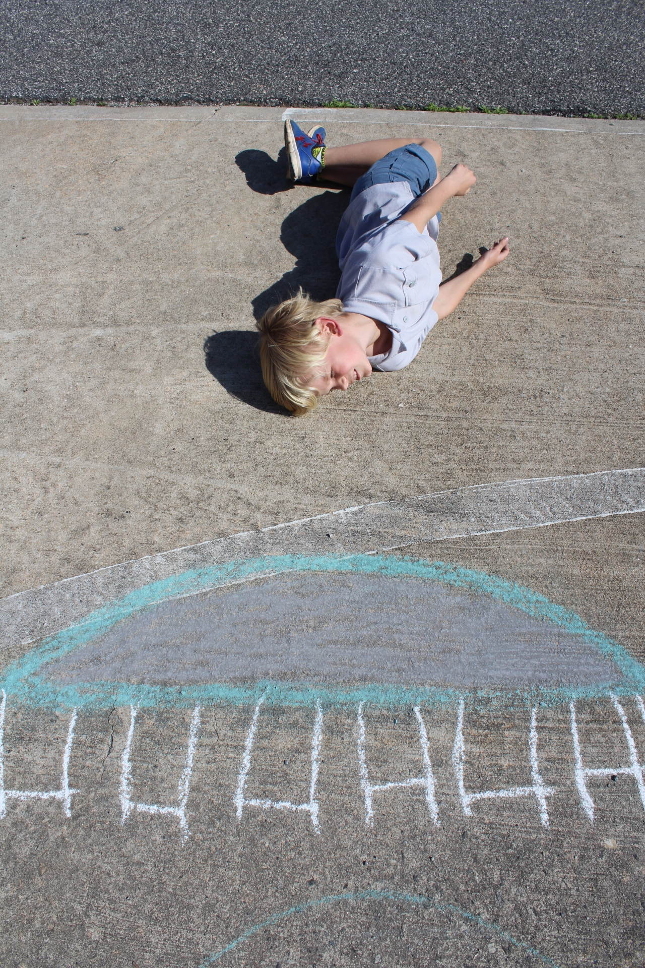 This is a photo inspired from a animation artist that used chalk drawings along with a figure to animate his video. The chalk drawing is  brought to life by the figure posing in the photo. In this case Camm is in the middle of a backflip on his trampoline.