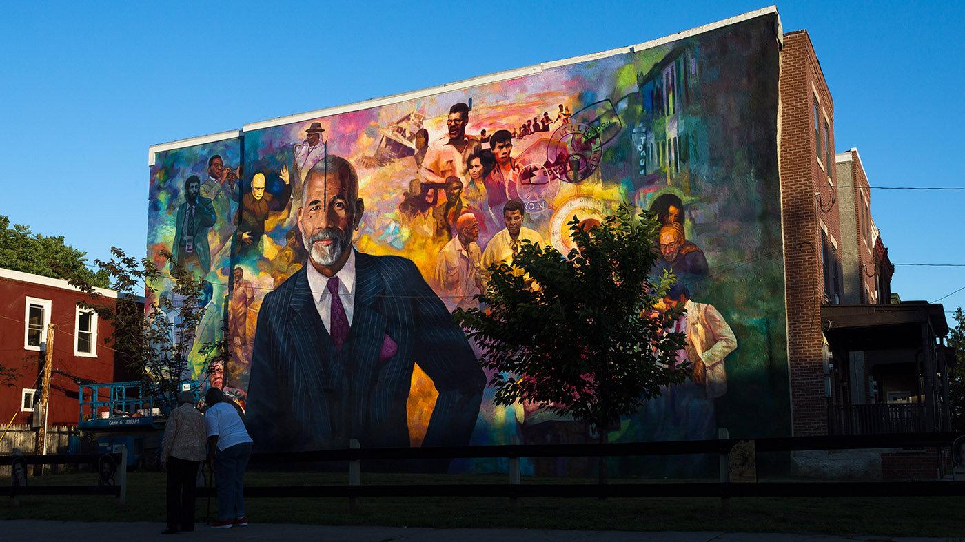 The Ed Bradley Mural in Philadelphia was completed by Ernel Martinez in June 16, 2018. Photo Courtesy of Steve Weinik.