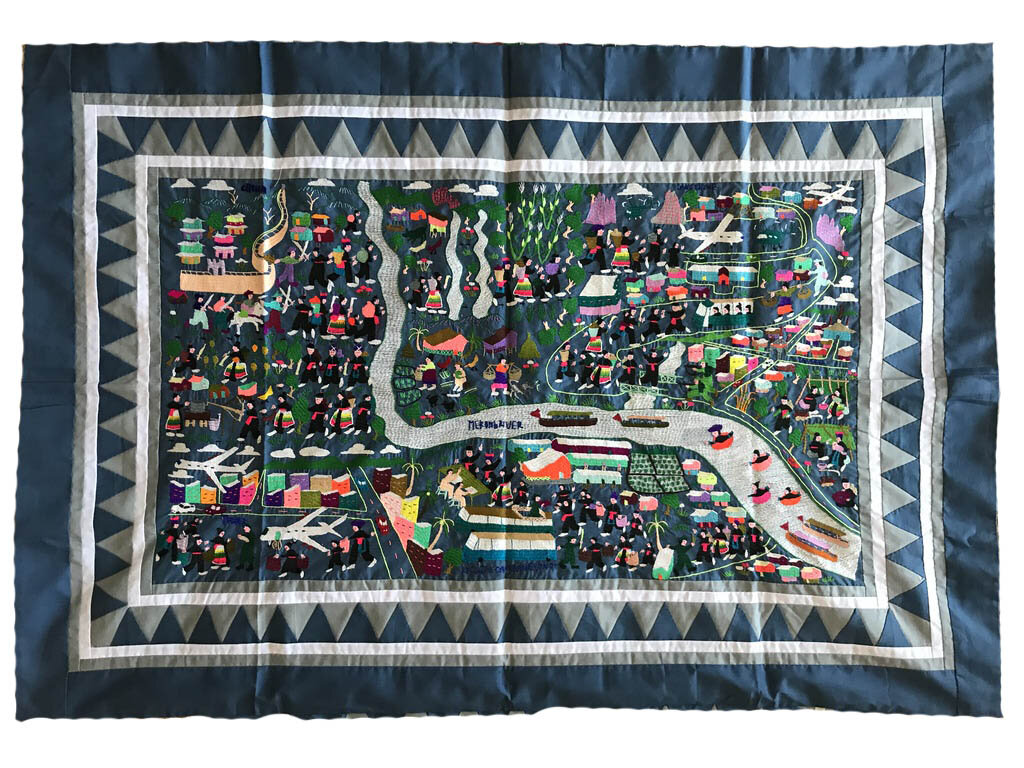 Ka Ying Yang's story cloth, made in Thailand by an unknown refugee, circa 1970