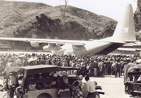 Toward the middle of May 1975, thousands of Hmong swarmed into the air base at Long Cheng in hopes of being evacuated. Courtesy Thua Vang, California