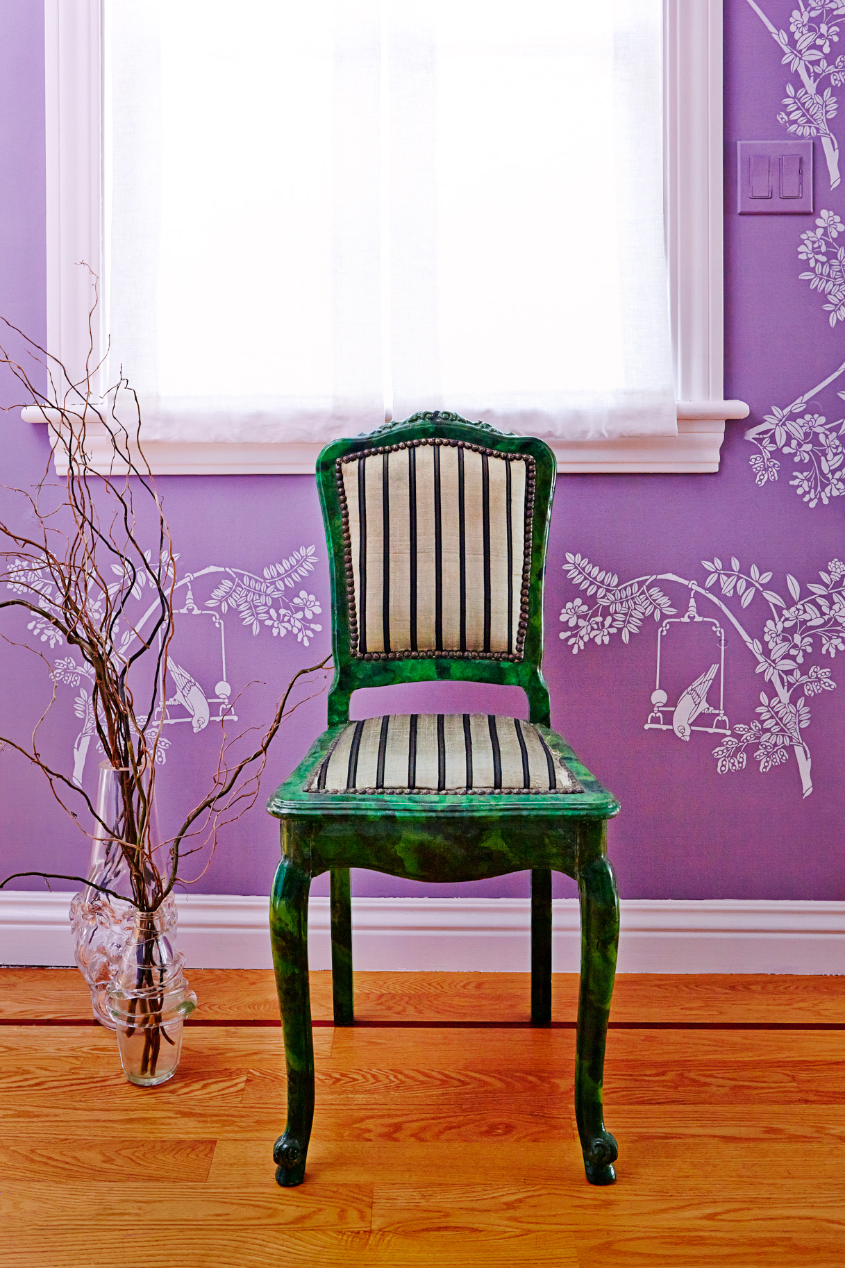 Chinoiserie stencil pattern, Stencil Library is backdrop for petite antique chair, One King's Lane.