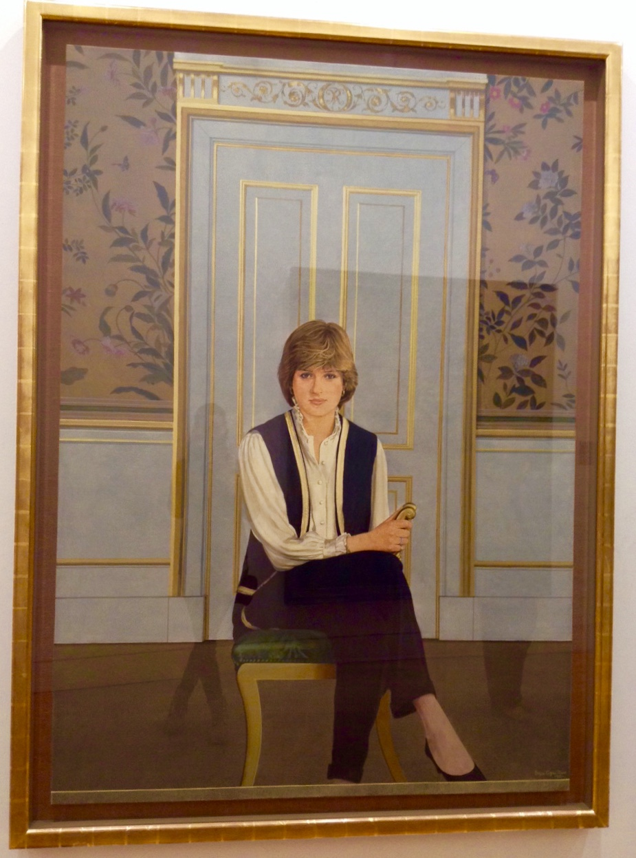 A portrait of Lady Diana Spencer, as this was painted during her engagement to Charles, so she wasn't Lady Di yet. I like the the interior setting (duh, interiors) and the subtle frankness of her pose.