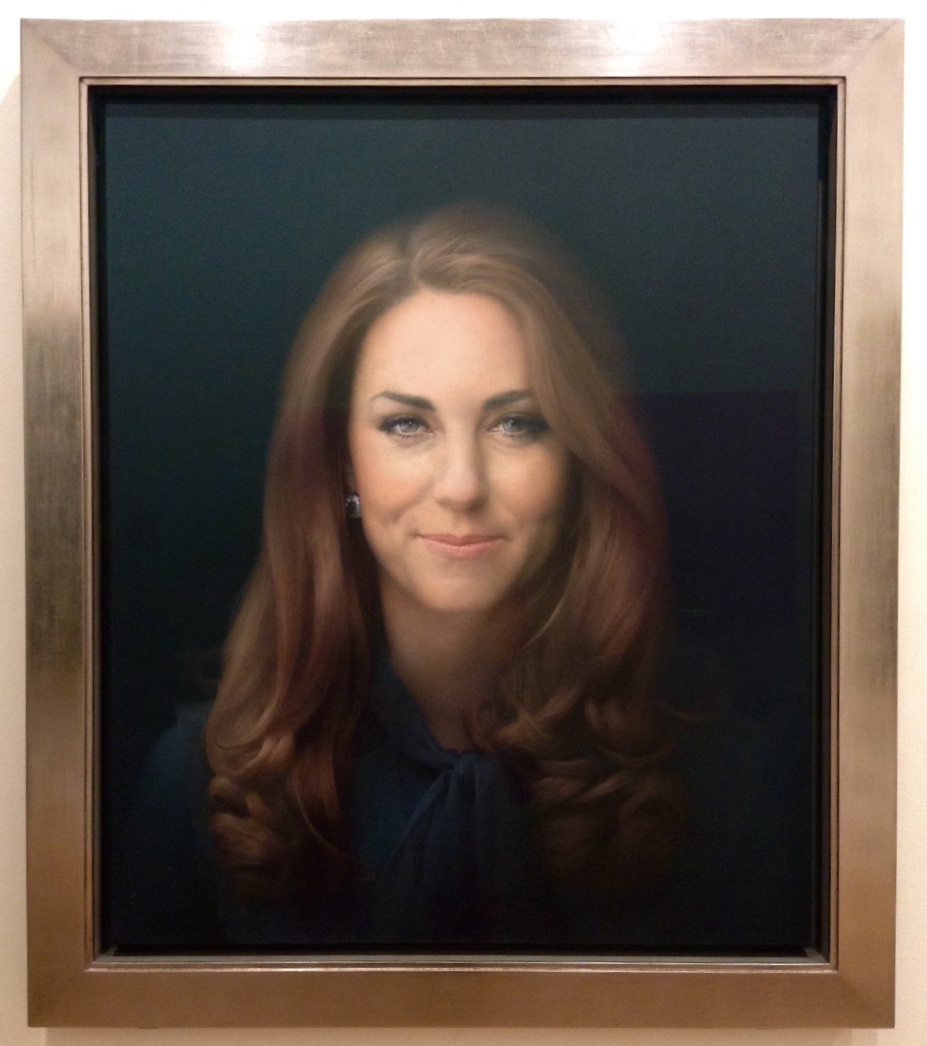 Portrait of Duchess of Cambridge, Catherine Middleton.  For such a lovely girl, I'd say this hardly does her justice either in likeness or essence.
