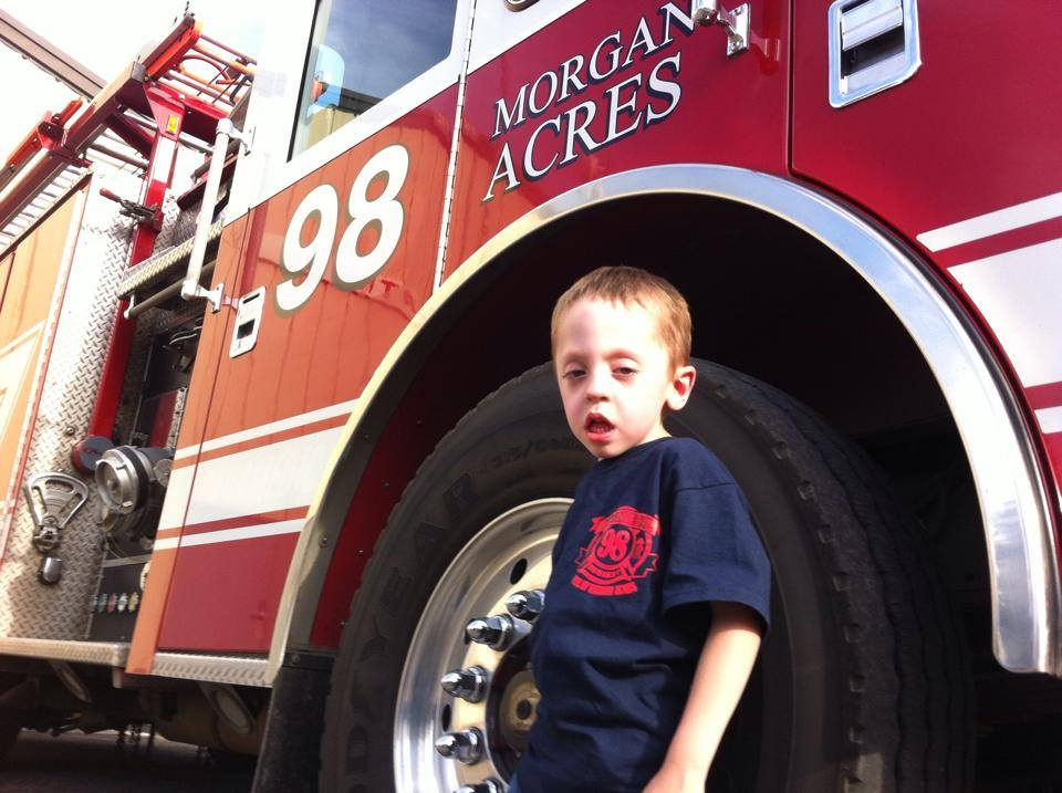our little firefighter karson who we raised $40,000.00 for so he could receive life changing therapy.