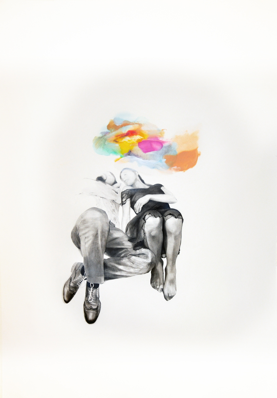 La carne delle nubi, 20 matita pastelli e olio su carta, cm70 x100 , 2015
