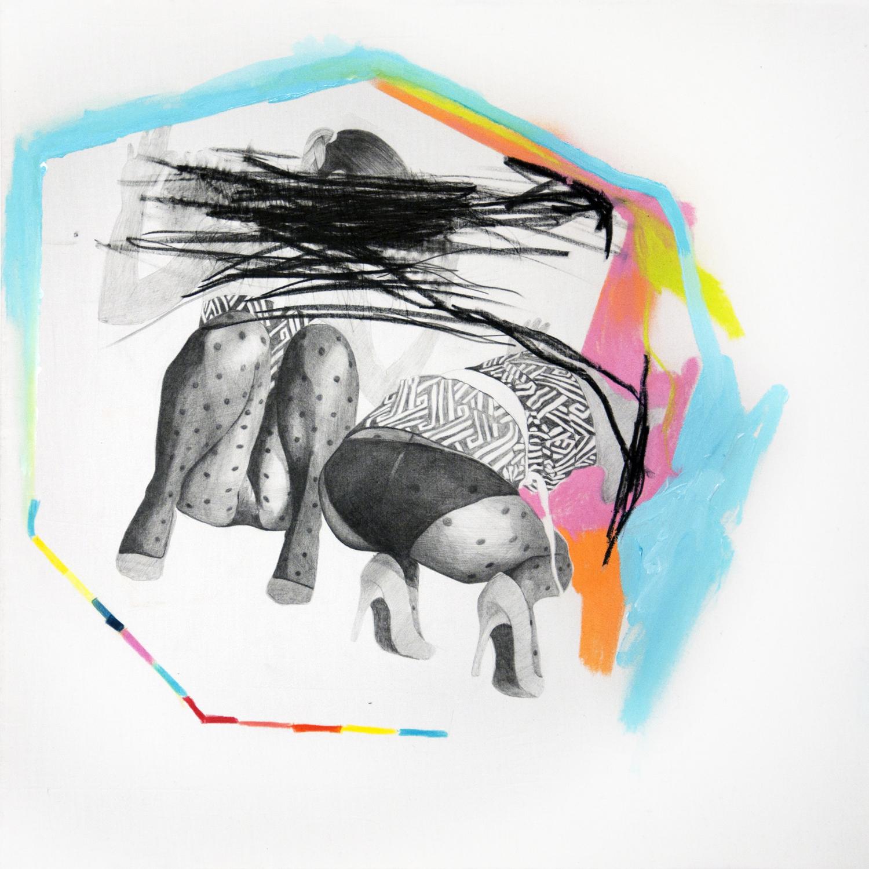 falling #2, tecnica necessaria (matite, matite colorate e smalto) su lenzuolo cm 50x50, 2016