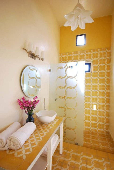 Yellow Tiled Bathroom Peacock Pavilions  | EAT.PRAY.MOVE Yoga Retreat | Marrakesh, Morocco