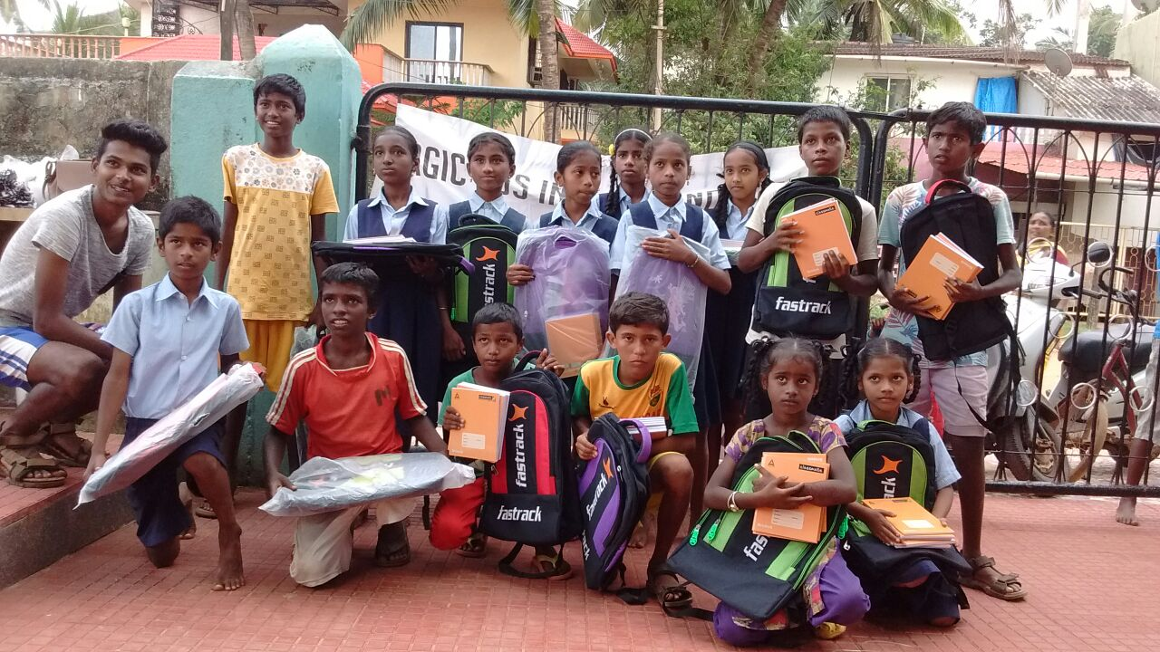 School children from our partner in India, Magic Bus, receiving our donated supplies