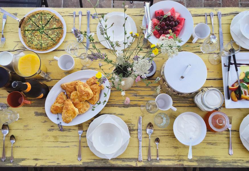 A breakfast feast Siliano Alto EAT.PRAY.MOVE Yoga Retreats | Tuscany, Italy