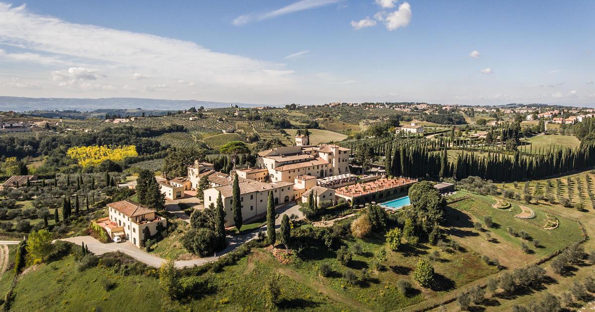 A bird's eye view Castello del Nero | EAT.PRAY.MOVE Yoga | Chianti, Italy