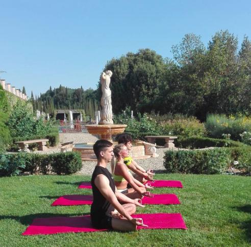 Yoga on the grounds Castello del Nero | EAT.PRAY.MOVE Yoga | Chianti, Italy
