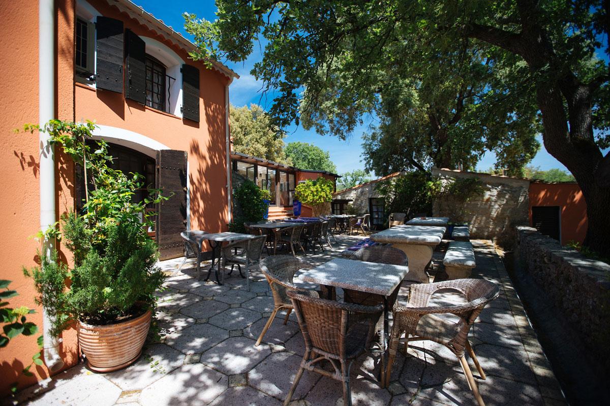 Trees shading the back patio Bastide Avellanne | EAT.PRAY.MOVE Yoga Retreats | Provence, France