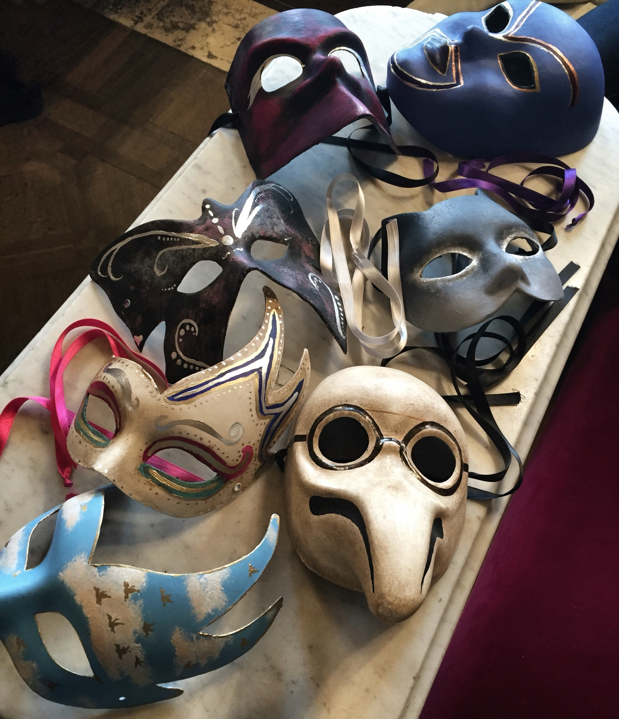 Unique masks made by guests | EAT.PRAY.MOVE Yoga | Venice, Italy
