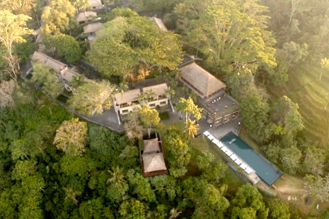Overhead view of Alila Ubud | EAT.PRAY.MOVE Yoga | Bali, Indonesia