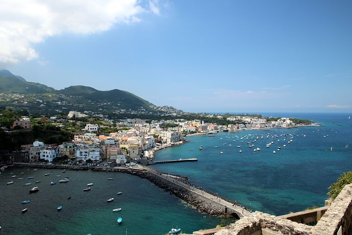 The town of Ischia Ponte, as seen from Castello Aragonese