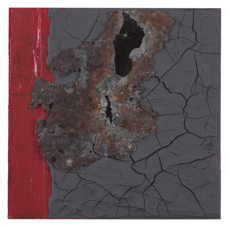 Fragile , acrylic and mixed media on panel, 2015, 6 x 6 in.