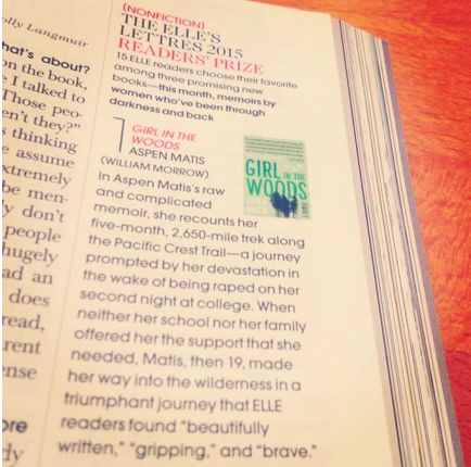 Girl in the Woods received the ELLE Letters 2015 Reader's Prize