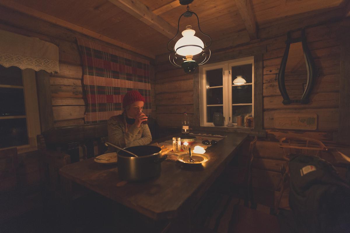 Drinking delicious homemade mjød after a dinner of reindeer stew. (shot on timer)