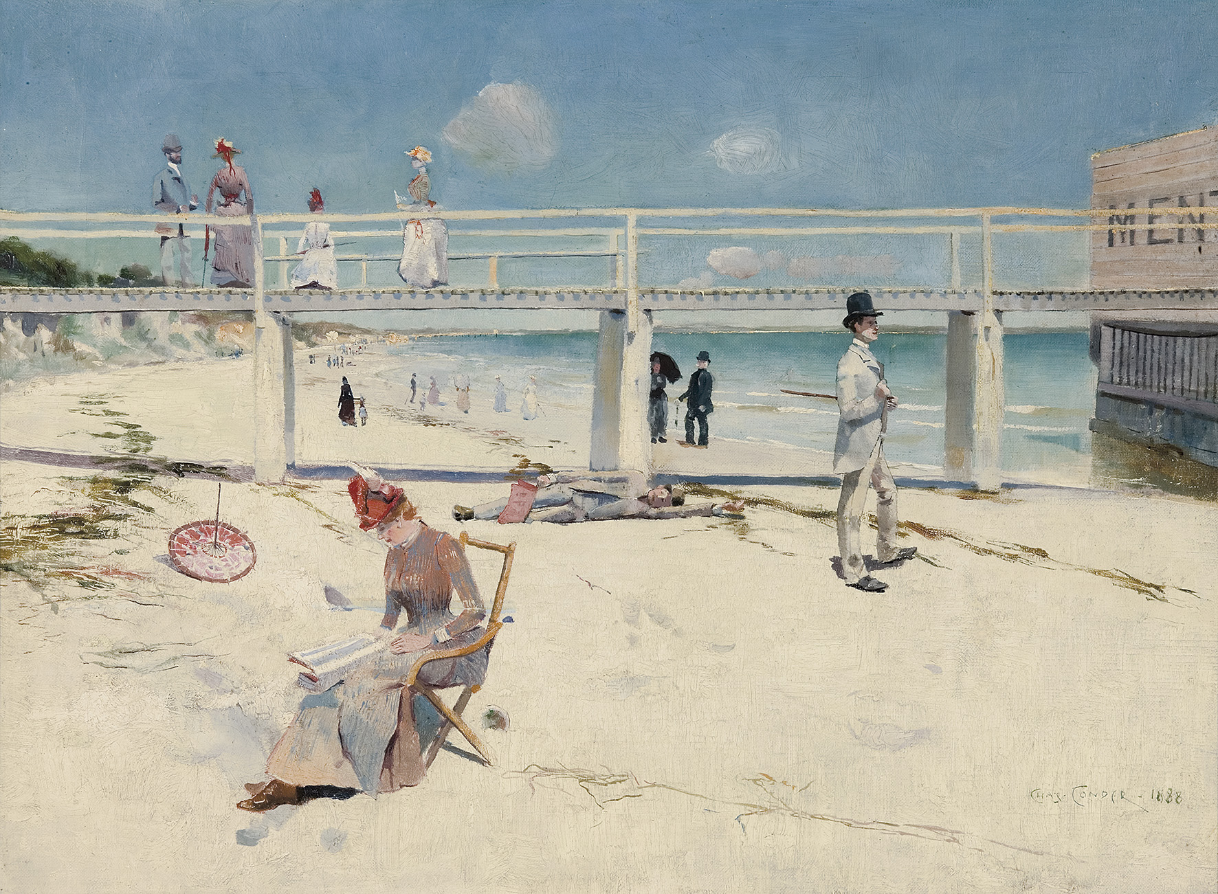 Charles Conder,  A Holiday at Mentone , 1888, Oil on canvas 46.2 x 60.8 cm Art Gallery of South Australia, Adelaide. South Australian Government Grant with the assistance of Bond Corporation Holdings Limited through the Art Gallery of South Australia Foundation to mark the Gallery's Centenary 1981 © Art Gallery of South Australia, Adelaide