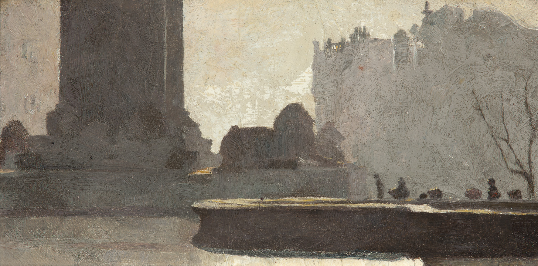 Tom Roberts  Trafalgar Square , 1904 Oil on cardboard 14 × 28 cm Art Gallery of South Australia, Adelaide South Australian Government Grant 1988 © Art Gallery of South Australia, Adelaide