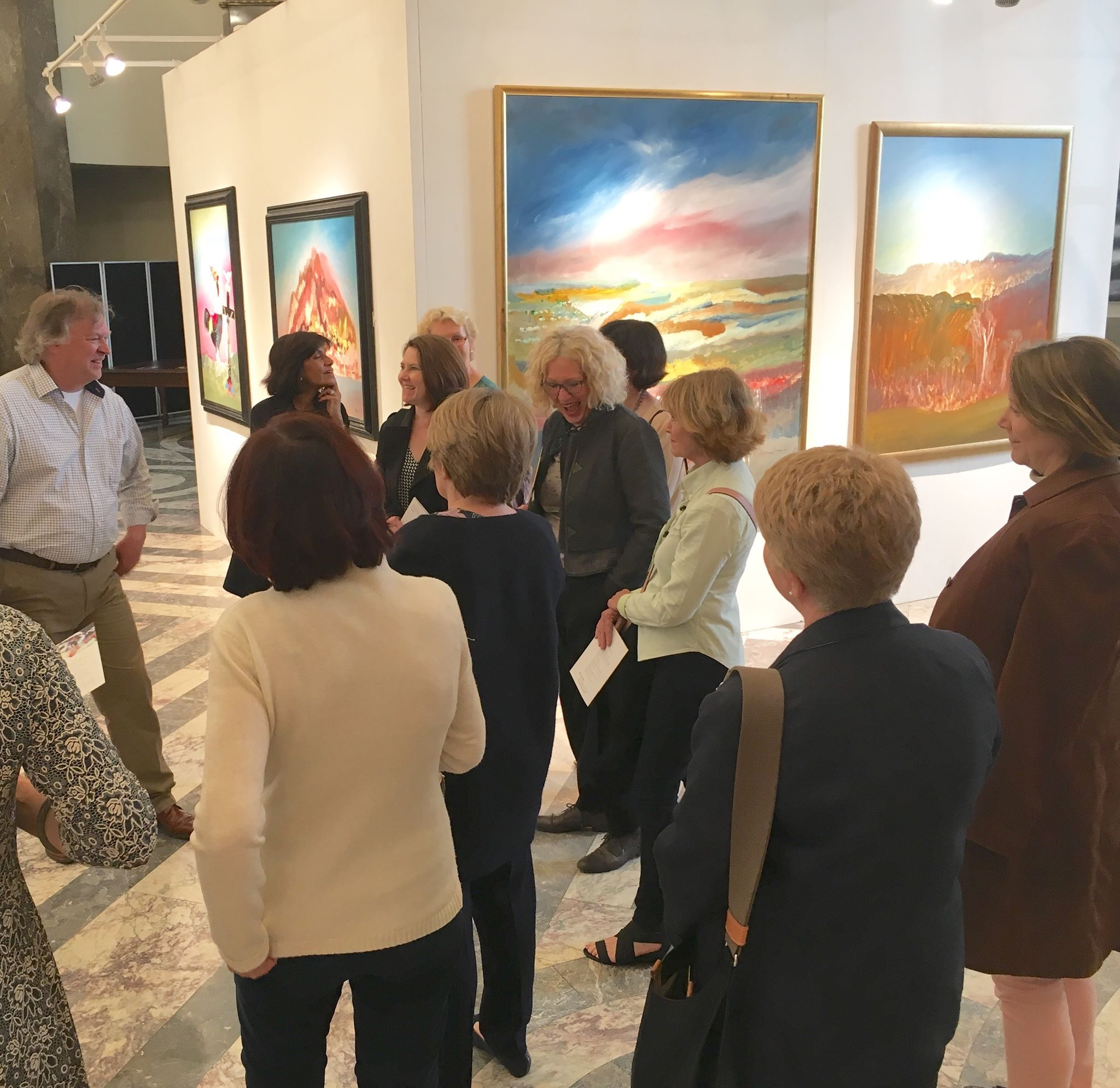 Group of AWC members at the Sidney Nolan Centenary art exhibition,  Australian High Commission. Photo credit: Australian Women's Club